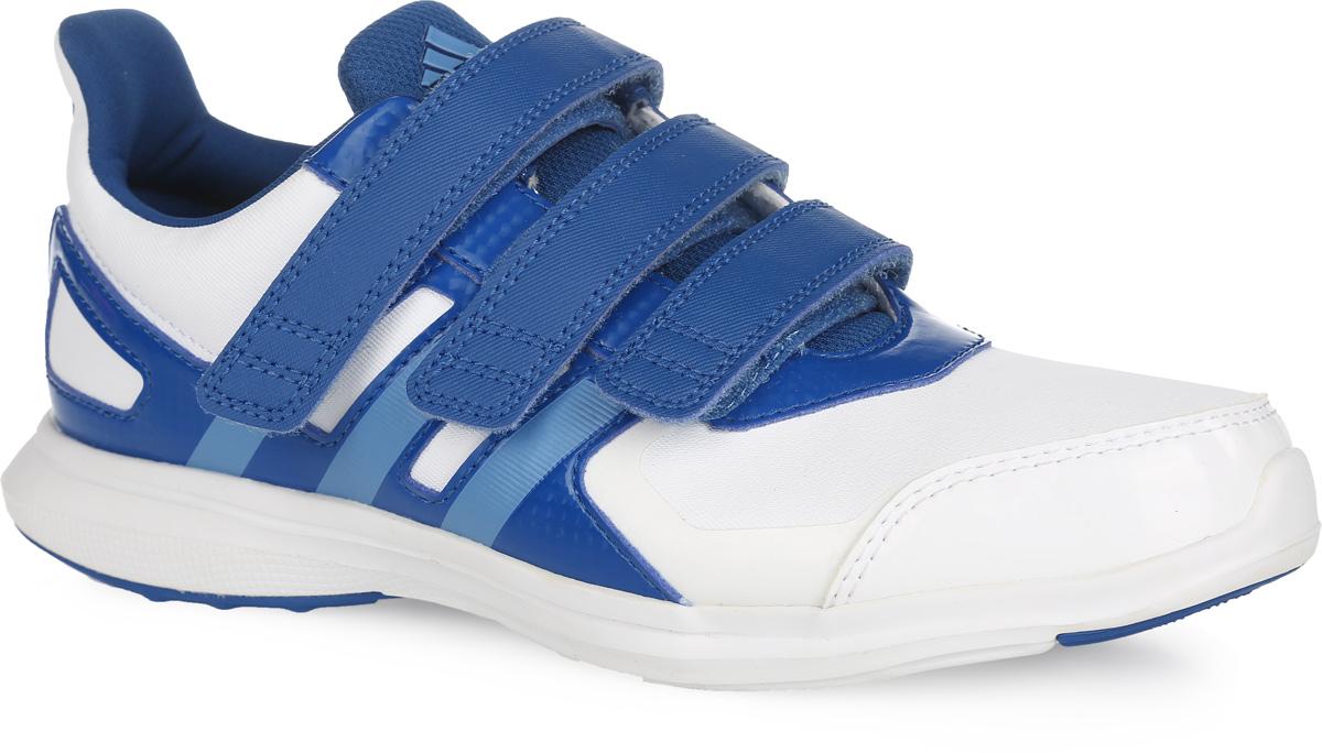 Кроссовки детские adidas Performance Hyperfast 2.0 cf k, цвет: белый, синий. AF4500. Размер 35AF4500Легкие кроссовки для бега от adidas Performance Hyperfast 2.0 cf k придутся по душе вашему ребенку. Модель с укрепленным мыском для лучшей износостойкости выполнена из плотного текстильного материала и дополнена вставками из искусственной кожи разной фактуры для дополнительной поддержки. Обувь оформлена голографическим эффектом, с одной из боковых сторон - перфорацией, с другой - фирменными полосками, на язычке - логотипом бренда. Ремешки на удобных застежках-липучках надежно зафиксируют обувь на ноге. Текстильная подкладка и мягкий манжет предотвратят натирание и гарантируют уют. Стелька OrthoLite, изготовленная из ЭВА материала с текстильным верхним покрытием, обеспечивает хорошую вентиляцию и защищает от образования бактерий, грибка и неприятного запаха. Легкая промежуточная подошва из ЭВА предназначена для лучшей амортизации. Специальный материал ультрагибкой подошвы non-marking не оставляет следов на поверхностях. А благодаря его прочности, обувь прослужит вам долгий срок. Рельефное основание подошвы гарантирует уверенное сцепление с любой поверхностью. Такие кроссовки придутся по душе вашему ребенку.