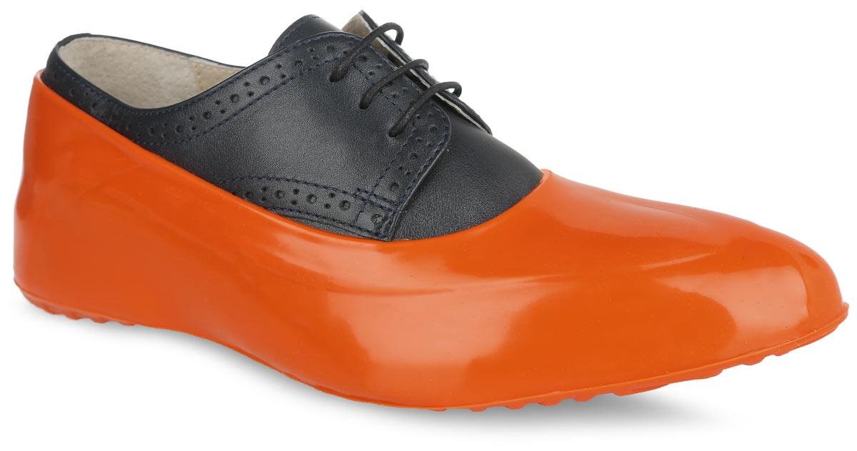 Галоши на обувь женские Мир Галош, цвет: оранжевый. WOR 04. Размер 39/40WOR 04Стильные женские галоши предназначены для защиты обуви без каблука. Модель выполнена из силикона с добавлением резины. Галоши легко надеваются на обувь и принимают ее форму. Они защищают обувь от влаги, грязи, снега, соли и песка. Также галоши оберегают заднюю часть обуви от повреждения при нажатии на педали автомобиля. Галоши легко моются и быстро сохнут. Рифление на подошве обеспечивает отличное сцепление с любой поверхностью. Модные галоши не только защитят вашу обувь, они помогут изменить ее внешний вид, сделав его более эффектным.