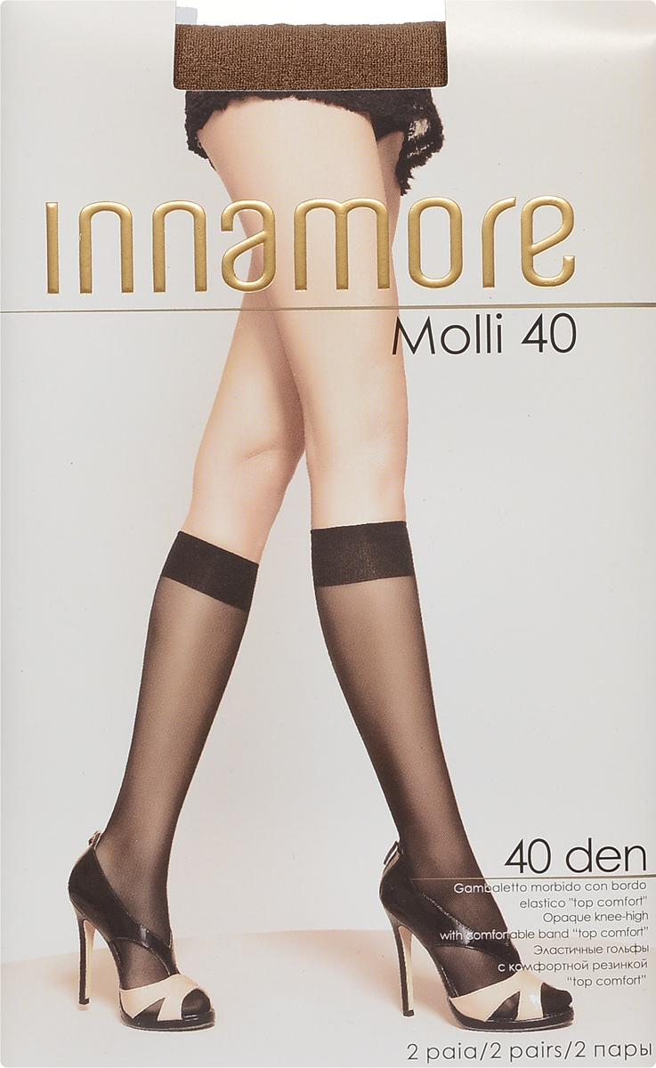 Гольфы женские Innamore Molli 40, цвет: Daino (загар), 2 пары. 6013. Размер универсальный6013Стильные гольфы Innamore Molli 40, изготовленные из эластичного полиамида, идеально дополнят ваш образ в прохладную погоду.Шелковистые гольфы легко тянутся, что делает их комфортными в носке. Гладкие и мягкие на ощупь, они имеют резинку top comfort и укрепленный мысок. Идеальное облегание и комфорт гарантированы при каждом движении. В комплект входят 2 пары гольф.Плотность: 40 den.