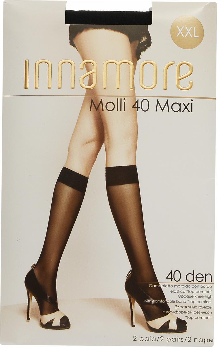 Гольфы женские Innamore Molli 40 Maxi, цвет: Nero (черный), 2 пары. 492. Размер универсальный492Стильные гольфы Innamore Molli 40 Maxi, изготовленные из эластичного полиамида, идеально дополнят ваш образ в прохладную погоду.Шелковистые гольфы легко тянутся, что делает их комфортными в носке. Гладкие и мягкие на ощупь, они имеют резинку top comfort и укрепленный мысок. Идеальное облегание и комфорт гарантированы при каждом движении. В комплект входят 2 пары гольф.Плотность: 40 den.