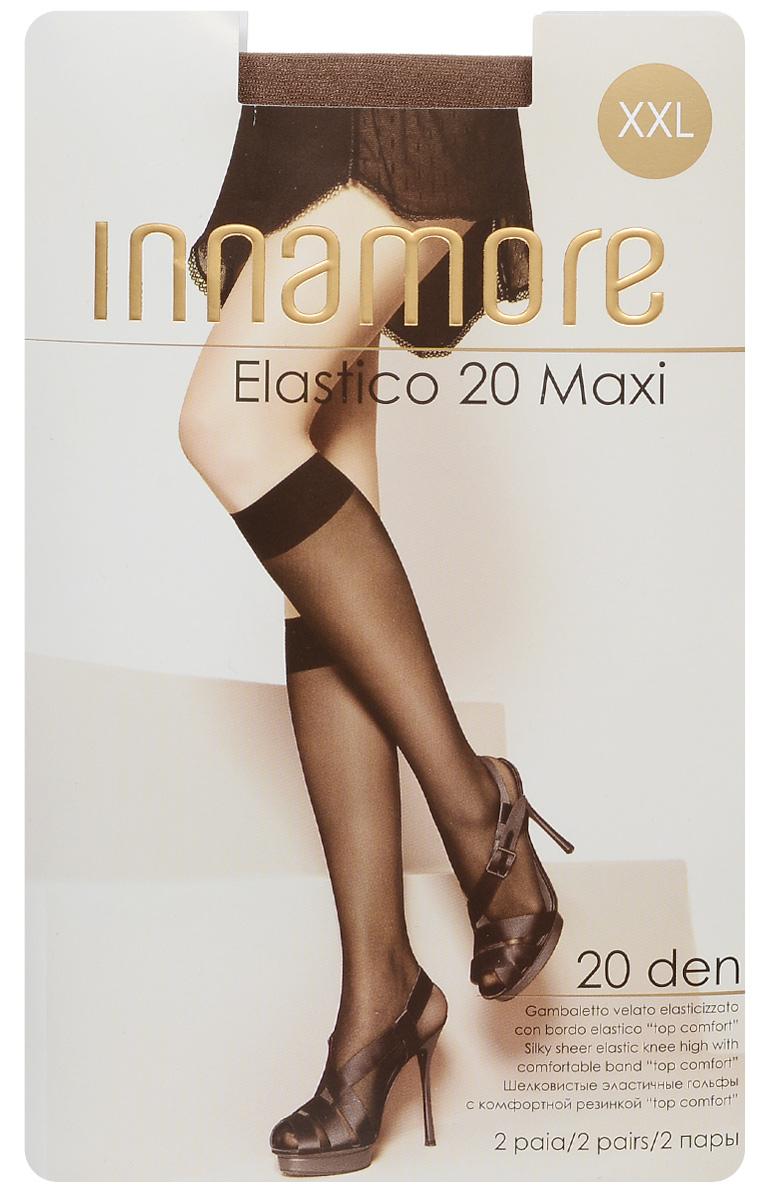 Гольфы женские Innamore Elastico 20 Maxi, цвет: Daino (загар), 2 пары. 491. Размер универсальный491Стильные гольфы увеличенного размера Innamore Elastico 20 Maxi, изготовленные из эластичного полиамида, идеально дополнят ваш образ в прохладную погоду.Шелковистые гольфы легко тянутся, что делает их комфортными в носке. Гладкие и мягкие на ощупь, они имеют удобную резинку и укрепленный прозрачный мысок. Идеальное облегание и комфорт гарантированы при каждом движении. В комплект входят 2 пары гольф.Плотность: 20 den.