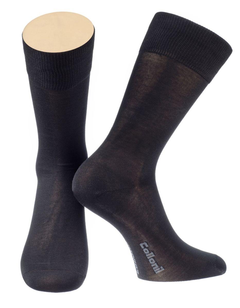 Носки мужские Collonil, цвет: черный. 2-19/01. Размер 42-432-19/01Мужские носки Collonil изготовлены из мерсеризованного хлопка с добавлением тактеля.Носки с удлиненным паголенком. Широкая резинка не сдавливает и комфортно облегает ногу.