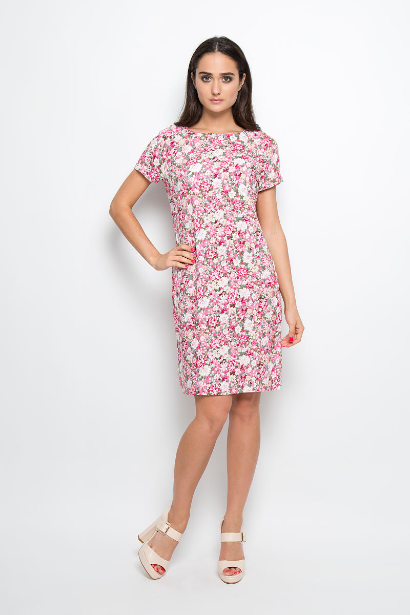 Платье F5, цвет: розовый, зеленый, белый. 13838. Размер XS (42)13838Платье F5 идеально подойдет для вас и станет стильным дополнением к вашему гардеробу. Выполненное из 100% вискозы, оно очень приятное на ощупь, не сковывает движений и хорошо вентилируется.Платье-миди с круглым вырезом горловины и короткими рукавами-реглан оформлено оригинальным цветочным принтом. Такое платье поможет создать яркий и привлекательный образ, в нем вам будет удобно и комфортно.