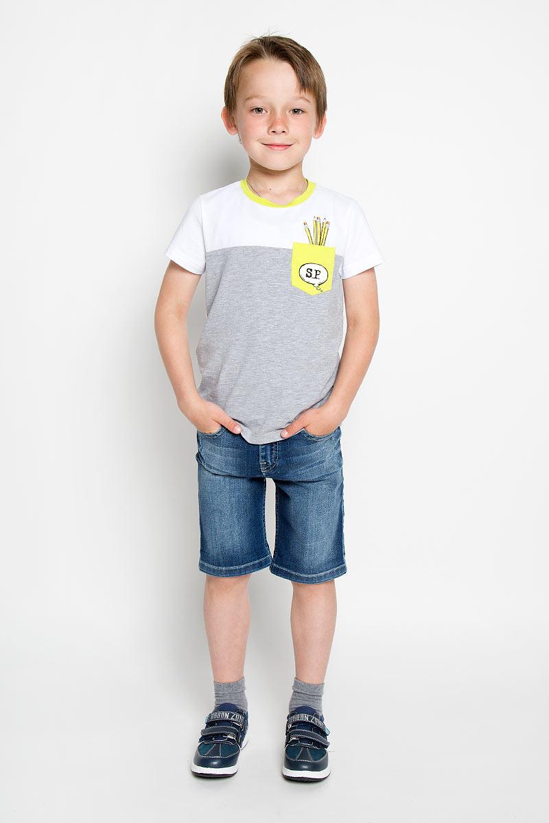 Футболка для мальчика Silver Spoon Casual, цвет: белый, серый меланж. SCFSB-618-14613-200 мод.M5-001. Размер 110SCFSB-618-14613-200 мод.M5-001Футболка для мальчика Silver Spoon Casual идеально подойдет маленькому моднику для отдыха и прогулок. Изготовленная из эластичного хлопка, она мягкая и приятная на ощупь, позволяет коже дышать, не стесняет движений.Модель с короткими рукавами имеет круглый вырез горловины, дополненный трикотажной эластичной вставкой контрастного цвета. На груди расположен накладной кармашек, оформленный оригинальным принтом. Спинка изделия украшена крупным изображением карандашей и надписями.Современный дизайн и расцветка делают эту футболку модным предметом детской одежды. Обладатель такой футболки всегда будет в центре внимания!