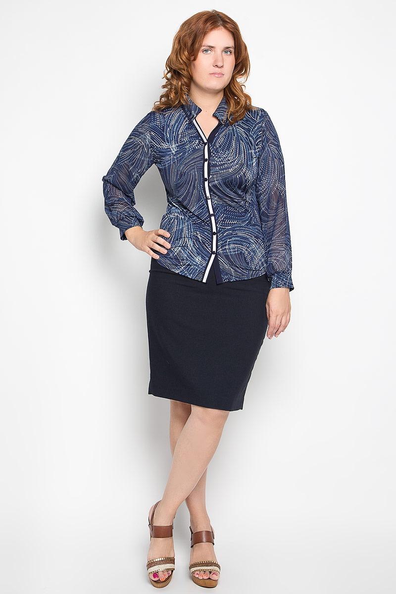 Блузка женская Milana Style, цвет: темно-синий, мультиколор. 1741-624м. Размер XXL (52)1741-624мСтильная блузка Milana Style, изготовленная из полиамида с добавлением эластана,подчеркнет ваш уникальный стиль. Материал очень легкий, мягкий и приятный на ощупь, не сковывает движения и хорошо вентилируется. Блузка с отложным воротником и длинными рукавами оформлена декоративной планкой с пуговицами по всей длине. Рукава выполнены из полупрозрачной легкой ткани и собраны в эластичные манжеты. Воротник дополнен декоративными пуговицами. По всей поверхности изделие оформлено принтом в виде оригинального орнамента.Такая блузка будет дарить вам комфорт в течение всего дня и послужит замечательным дополнением к гардеробу.
