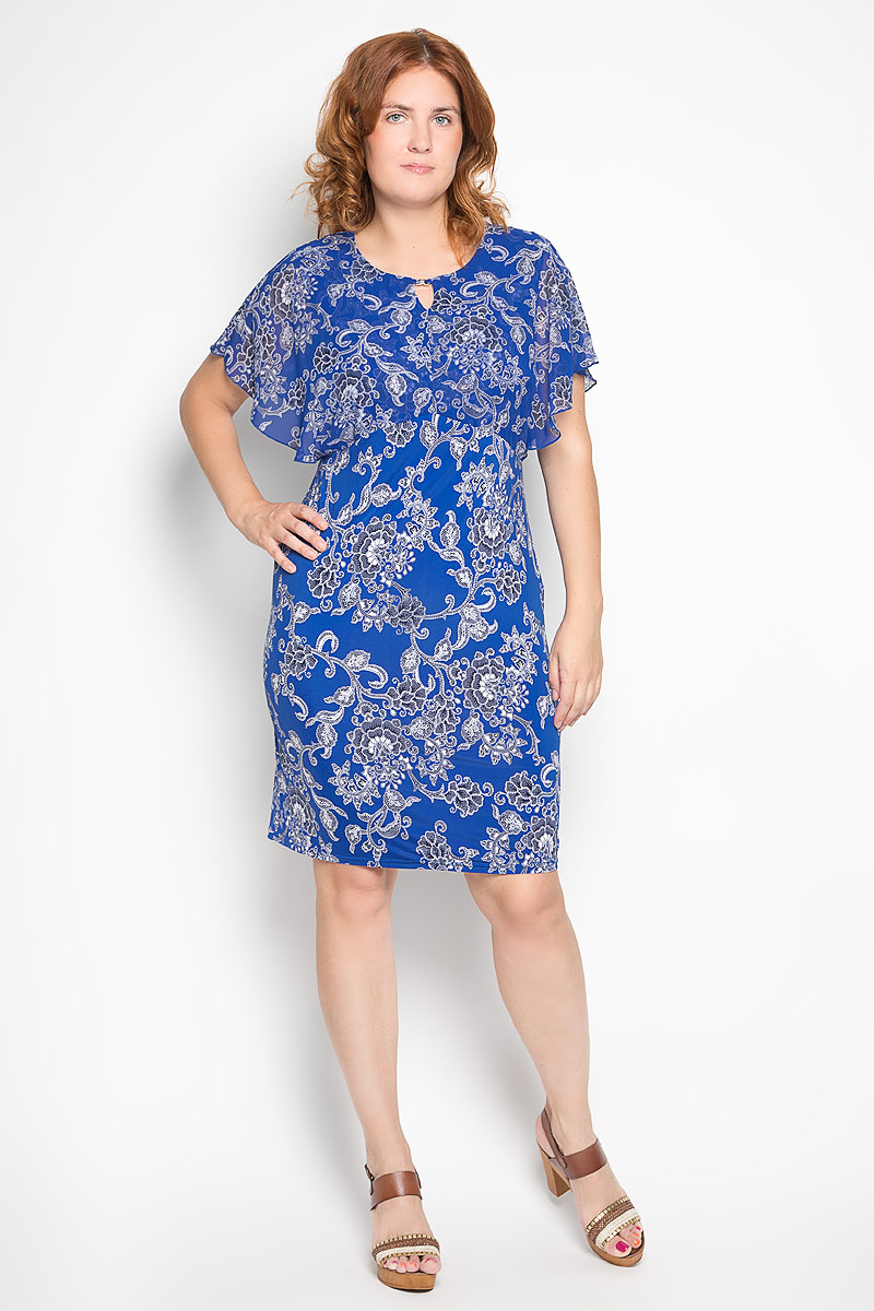 Платье Milana Style, цвет: васильковый. 920м. Размер XXL (52)920мЭлегантное платье Milana Style выполнено из эластичного полиэстера с добавлением вискозы. Такое платье обеспечит вам комфорт и удобство при носке и непременно вызовет восхищение у окружающих.Модель-миди с короткими полупрозрачными рукавами и круглым вырезом горловины выгодно подчеркнет все достоинства вашей фигуры. Изделие оформлено красочным цветочным орнаментом. Изысканное платье-миди создаст обворожительный и неповторимый образ.Это модное и удобное платье станет превосходным дополнением к вашему гардеробу, оно подарит вам удобство и поможет подчеркнуть свой вкус и неповторимый стиль.