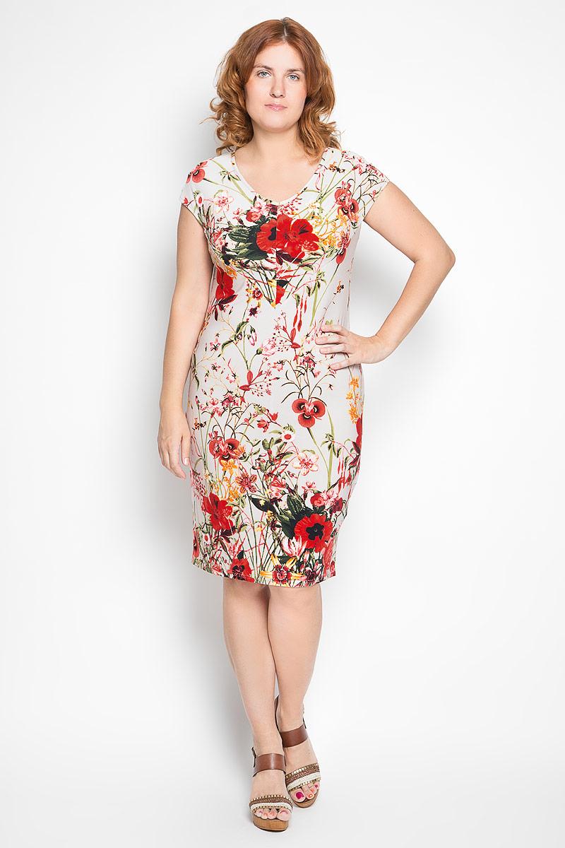 Платье Milana Style, цвет: бежевый, красный, зеленый. 934м. Размер XXXXL (56)934мСтильное платье Milana Style станет модным дополнением к вашему летнему гардеробу. Выполненное из высококачественного материала, оно легкое и приятное на ощупь, не сковывает движений, хорошо вентилируется.Модель с V-образным вырезом горловины и короткими цельнокроеными рукавами оформлена ярким цветочным принтом.Эффектное платье поможет создать привлекательный образ, а также подарит вам комфорт.