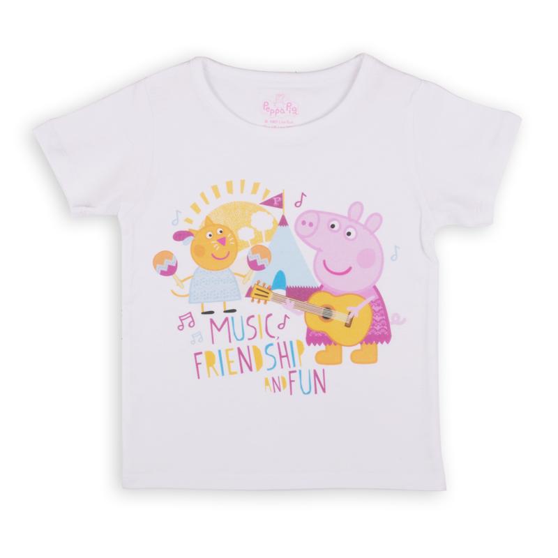 Футболка для девочки Free Age Peppa Pig, цвет: белый. ZG 02491-W1. Размер 116, 6-7 летZG 02491-W1Удобная и комфортная в носке футболка с коротким рукавом с изображением мультипликационного героя Свинки Пеппы станет отличным дополнением к повседневному гардеробу девочки.
