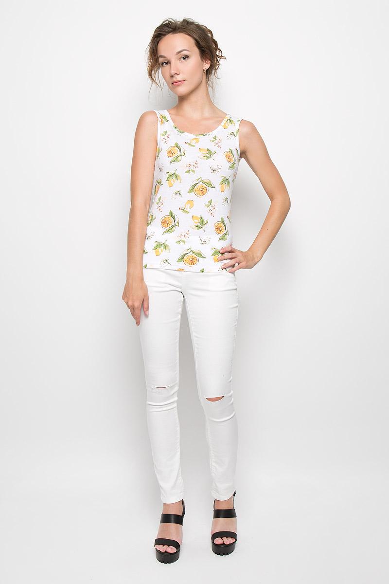 Майка женская Finn Flare, цвет: белый, зеленый, желтый. S16-14094_201. Размер L (48)S16-14094_201Стильная женская майка Finn Flare приталенного силуэта, изготовленная из высококачественного хлопка, не сковывает движений, обеспечивая наибольший комфорт.Модель оформлена оригинальным принтом с изображением лимонов.Эта майка послужит отличным дополнением к вашему гардеробу и станет главной составляющей вашего стиля.