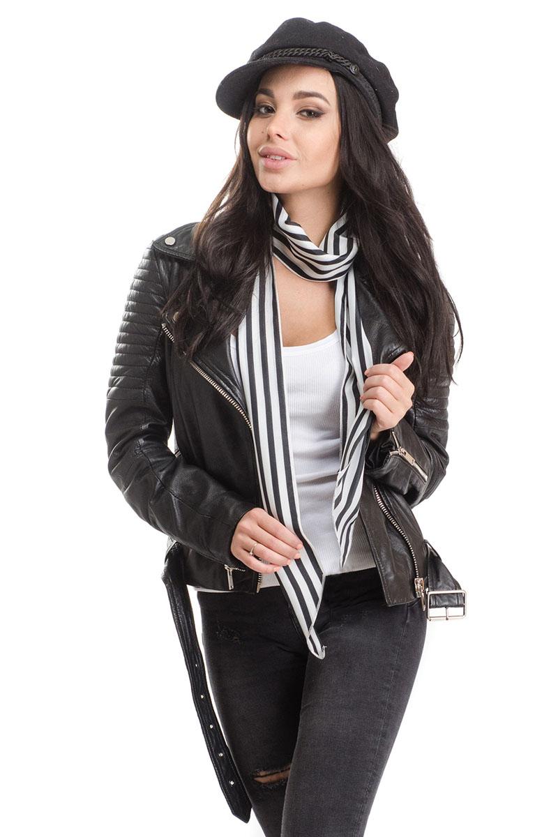 Шарф женский Moltini, цвет: черный, белый. 4B-1610. Размер 170 см х 10 см4B-1610Стильный женский шарф Moltini, выполнен из высококачественного полиэстера. Модель имеет края треугольной формы и оформлена контрастным принтом в полоску.