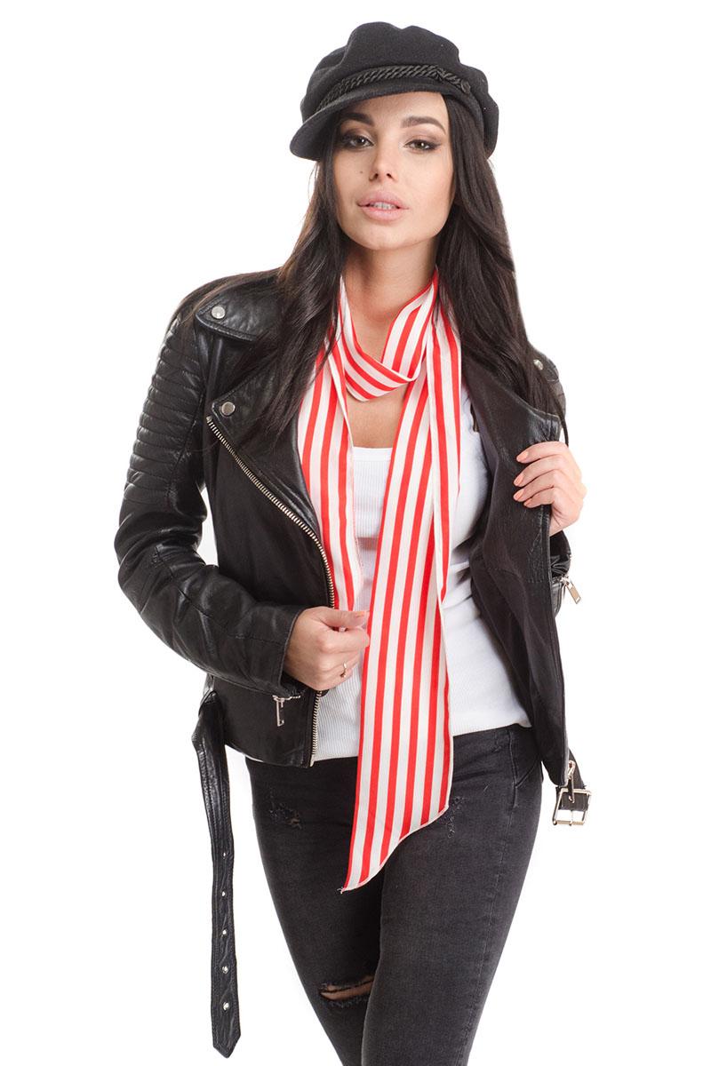 Шарф женский Moltini, цвет: красный, белый. 4C-1610. Размер 170 см х 10 см4C-1610Стильный женский шарф Moltini, изготовлен из высококачественного полиэстера. Изделие имеет края треугольной формы и оформлено контрастным принтом в полоску.