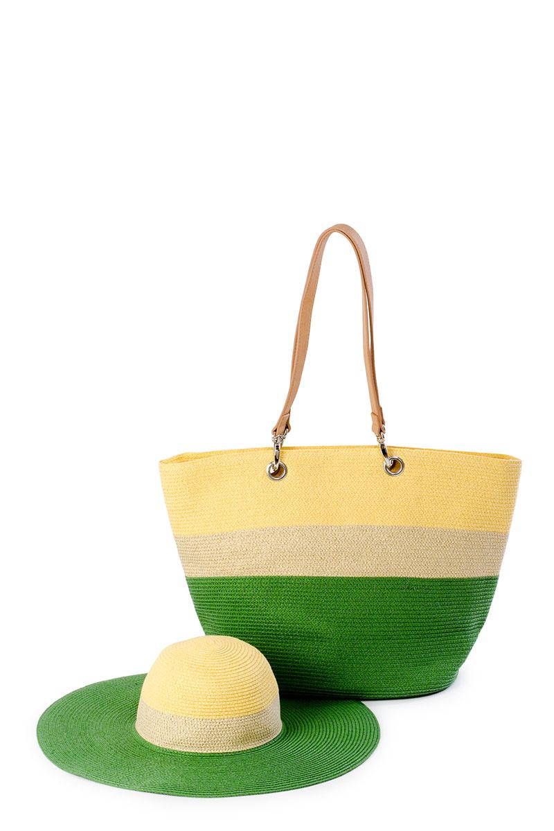 Комплект женский Moltini: сумка, шляпа, цвет: зеленый. 8E-16028E-1602Оригинальный пляжный комплект Moltini, состоящий из сумки и шляпы, выполнен из 100% целлюлозы. Комплект выполнен в едином стиле и оформлен контрастными оттенками. Сумка состоит из одного вместительного отделения и закрывается на застежку-молнию. Внутри размещены два накладных кармана для телефона и мелочей, а также врезной карман на застежке-молнии. Оригинальный дизайн ручек и натуральные материалы делают эту сумку особенно удобной для ношения на плече. Шляпа надежно защитит волосы и лицо от ярких солнечных лучей.