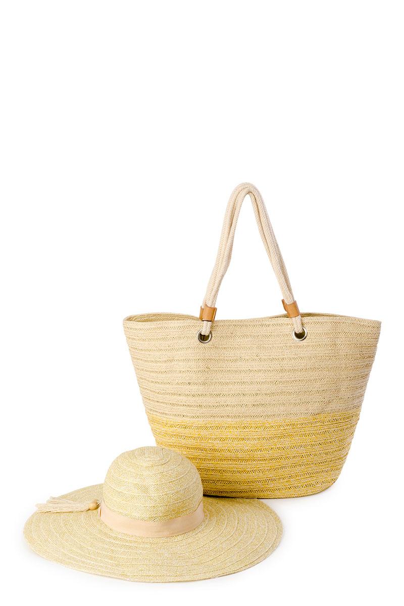 Комплект женский Moltini: сумка, шляпа, цвет: желтый. 8J-16128J-1612Оригинальный пляжный комплект Moltini, состоящий из сумки и шляпы, выполнен из 100% целлюлозы. Комплект выполнен в едином стиле. Сумка состоит из одного вместительного отделения и закрывается на магнитный замок. Внутри размещены два накладных кармана для телефона и мелочей, а также врезной карман на застежке-молнии. Оригинальный дизайн ручек и натуральные материалы делают эту сумку особенно удобной для ношения на плече.Шляпа надежно защитит волосы и лицо от ярких солнечных лучей. Она выполнена в едином стиле с сумкой и достойно завершит комплект.