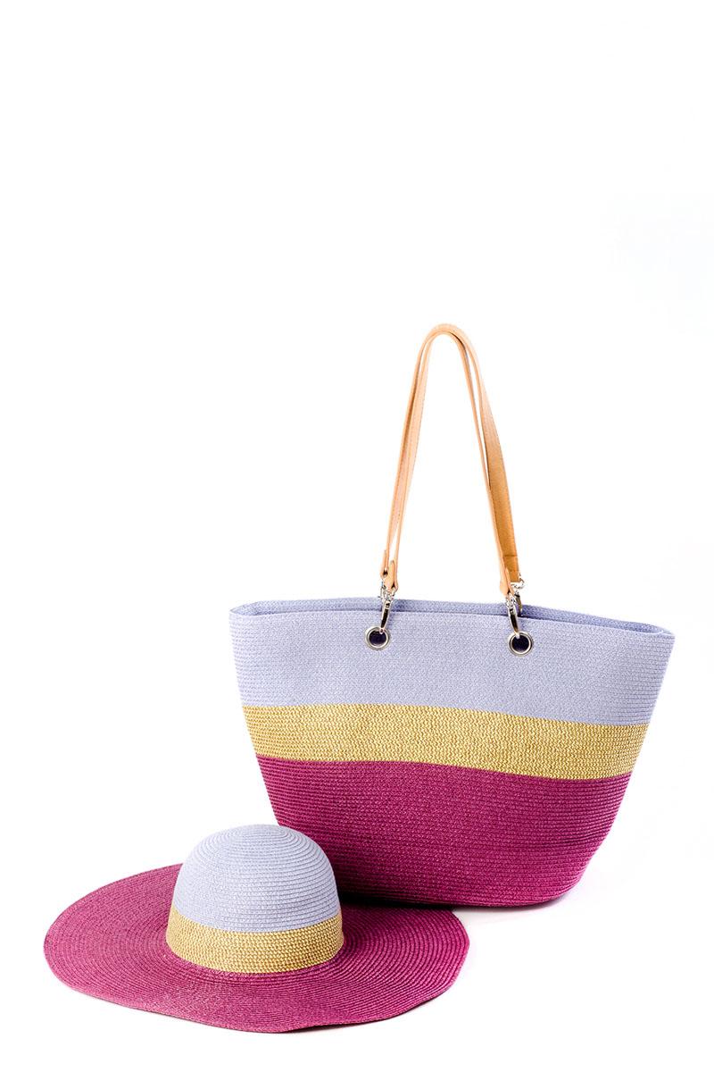 Комплект женский Moltini: сумка, шляпа, цвет: фиолетовый. 8L-16018L-1601Оригинальный пляжный комплект Moltini, состоящий из сумки и шляпы, выполнен из 100% целлюлозы. Комплект выполнен в едином стиле и оформлен контрастными оттенками. Сумка состоит из одного вместительного отделения и закрывается на застежку-молнию. Внутри размещены два накладных кармана для телефона и мелочей, а также врезной карман на застежке-молнии. Оригинальный дизайн ручек и натуральные материалы делают эту сумку особенно удобной для ношения на плече.Шляпа надежно защитит волосы и лицо от ярких солнечных лучей.
