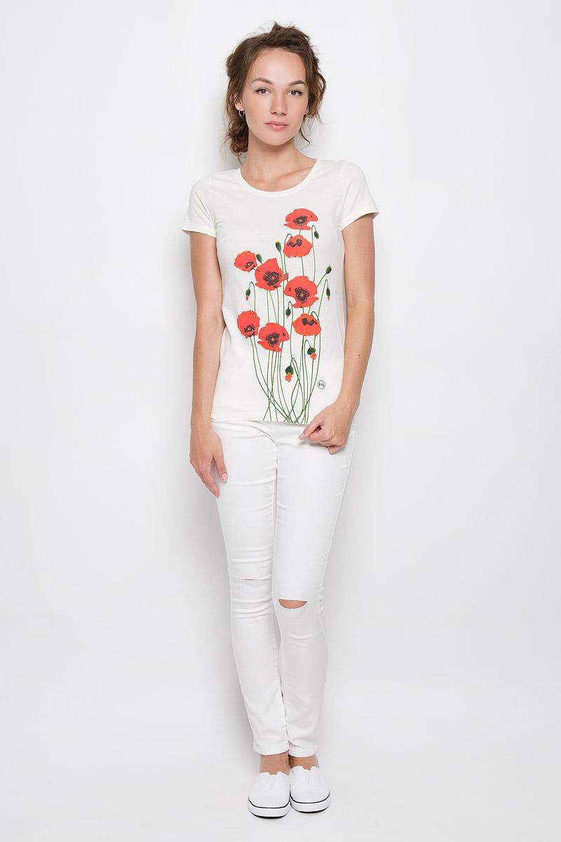 Футболка женская F5 Poppies, цвет: красный, экрю. 160089_12380. Размер XS (42)160089_12380_ecruСтильная женская футболка F5 Poppies, выполненная из эластичного хлопка, обладает высокой теплопроводностью, воздухопроницаемостью и гигроскопичностью, позволяет коже дышать. Модель с короткими рукавами и круглым вырезом горловины - идеальный вариант для создания стильного современного образа. Футболка оформлена красочным принтом с изображением маков.Такая модель подарит вам комфорт в течение всего дня и послужит замечательным дополнением к вашему гардеробу.