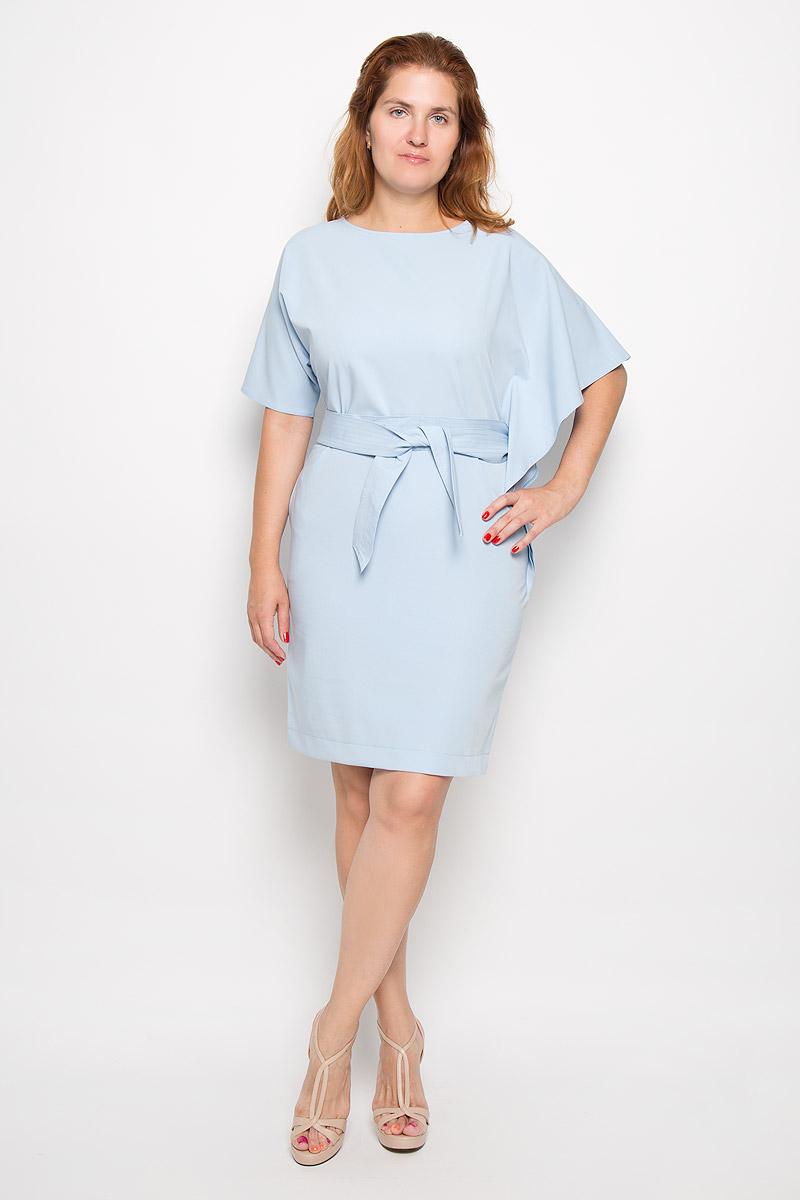 Платье Krisna Венди, цвет: голубой. Размер 44ВендиЭлегантное платье Krisna Венди выполнено из высококачественного эластичного полиамида с добавлением вискозы. Такое платье обеспечит вам комфорт и удобство при носке и непременно вызовет восхищение у окружающих.Модель-миди с рукавами летучая мышь длиной до локтя и круглым вырезом горловины выгодно подчеркнет все достоинства вашей фигуры. Платье застегивается на молнию на спинке. В комплект входит широкий текстильный пояс. Рукава платья дополнены разрезами для пояса. Изысканное платье-миди создаст обворожительный и неповторимый образ.Это модное и удобное платье станет превосходным дополнением к вашему гардеробу, оно подарит вам удобство и поможет подчеркнуть свой вкус и неповторимый стиль.