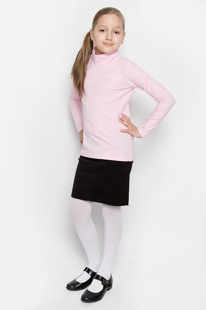 Водолазка для девочки Scool, цвет: розовый. 364063. Размер 146, 11 лет364063Водолазка для девочки Scool идеально дополнит образ юной модницы. Модель выполнена из эластичного хлопка, мягкая и приятная на ощупь. Водолазка не сковывает движения и позволяет коже дышать, не раздражает нежную и чувствительную кожу ребенка, обеспечивая комфорт. Водолазка с длинными рукавами и воротником-стойкой украшена вышитым сердечком на груди. Лаконичный дизайн и высокое качество исполнения принесут удовольствие от покупки и подарят отличное настроение!
