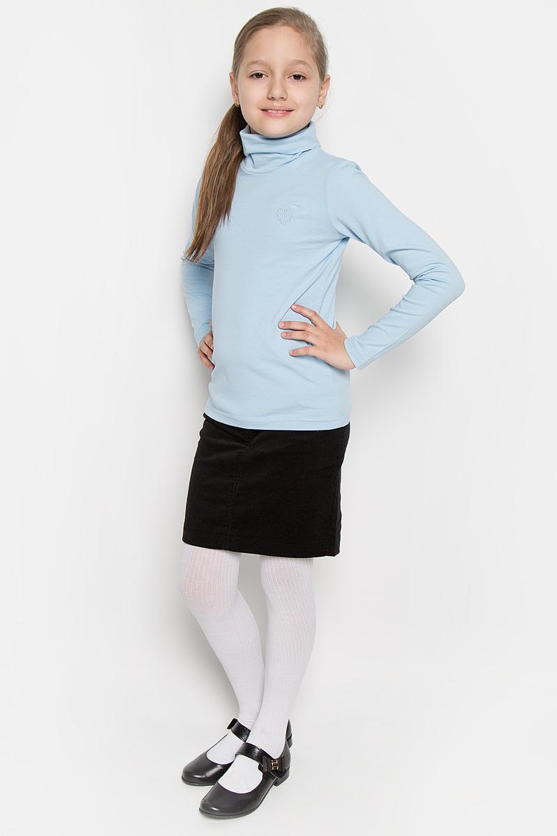 Водолазка для девочки Scool, цвет: голубой. 364062. Размер 152, 12 лет364062Водолазка для девочки Scool идеально дополнит образ юной модницы. Модель выполнена из эластичного хлопка, мягкая и приятная на ощупь. Водолазка не сковывает движения и позволяет коже дышать, не раздражает нежную и чувствительную кожу ребенка, обеспечивая комфорт. Водолазка с длинными рукавами и воротником-гольф украшена вышитым сердечком на груди. Лаконичный дизайн и высокое качество исполнения принесут удовольствие от покупки и подарят отличное настроение!