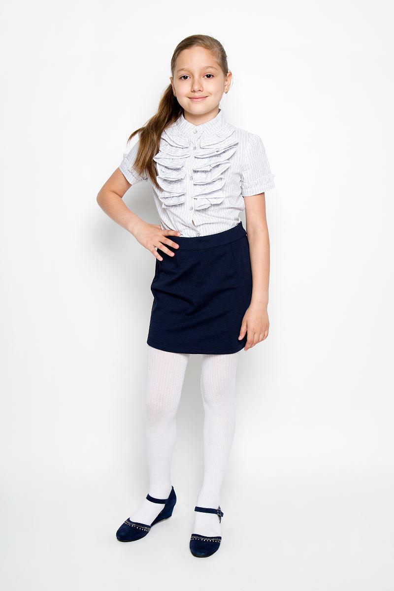Юбка для девочки Scool, цвет: темно-синий. 364026. Размер 122, 7 лет364026Стильная юбка для девочки Scool идеально подойдет для школы. Изготовленная из высококачественного материала, она необычайно мягкая и приятная на ощупь, не сковывает движения малышки и позволяет коже дышать, не раздражает даже самую нежную и чувствительную кожу ребенка, обеспечивая ему наибольший комфорт. Юбка застегивается на скрытую застежку-молнию сзади. При необходимости в поясе ее можно утянуть скрытой резинкой на пуговках. Сзади модель дополнена небольшим разрезом. В сочетании с любым верхом, юбка выглядит строго, красиво, достойно. Оригинальный современный дизайн делает эту юбку модным и стильным предметом детского гардероба. В ней ваша маленькая леди всегда будет в центре внимания!