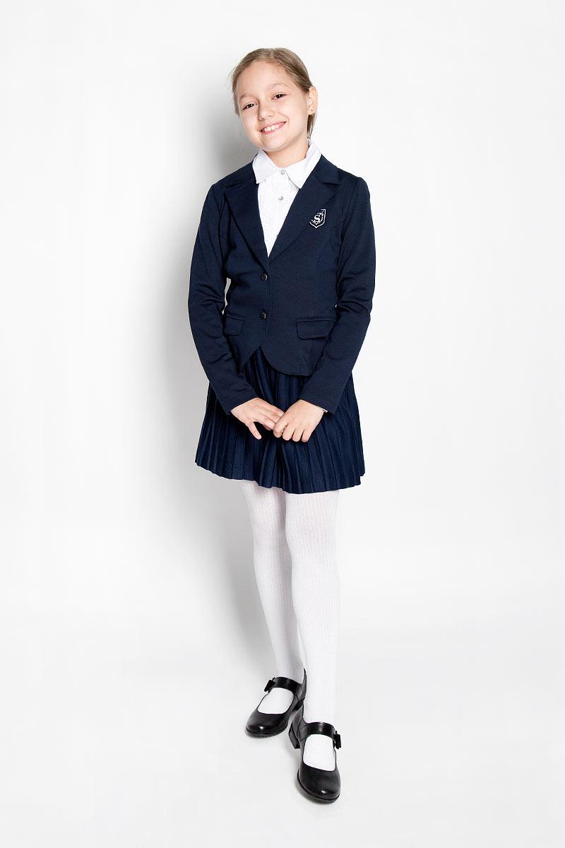 Жакет для девочки Scool, цвет: темно-синий. 364050. Размер 122, 7 лет364050Изысканный жакет для девочки Scool идеально подойдет для вашей модницы. Изготовленный из высококачественнойткани, он необычайно мягкий и приятный на ощупь, не сковывает движения малышки и позволяет коже дышать, не раздражает даже самую нежную и чувствительную кожу ребенка, обеспечивая ему наибольший комфорт.Жакет с длинными рукавами и воротником с лацками застегивается на металлические переливающиеся пуговицы. Модель дополнена двумя прорезными карманами с клапанами. На груди жакет оформлен брендовой нашивкой, оформленной стразами. Оригинальный современный дизайн и модная расцветка делают этот жакет модным и стильным предметом детского гардероба. В нем ваша малышка будет чувствовать себя уютно и комфортно, и всегда будет в центре внимания!