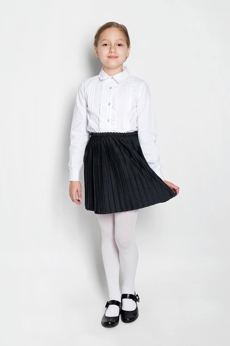 Юбка для девочки Scool, цвет: черный. 364058. Размер 128, 8 лет364058Стильная юбка для девочки Scool идеально подойдет для школьных будней и праздников. Изготовленная из высококачественного полиэстера, она необычайно мягкая и приятная на ощупь, не сковывает движения, обеспечивает необходимую воздухопроницаемость и не раздражает даже самую нежную и чувствительную кожу ребенка, обеспечивая ему наибольший комфорт.Юбка-гофре на талии имеет широкий эластичный пояс. Изделие дополнено непрозрачным подъюбником. В сочетании с любым верхом эта юбка выглядит строго, красиво и очень эффектно.