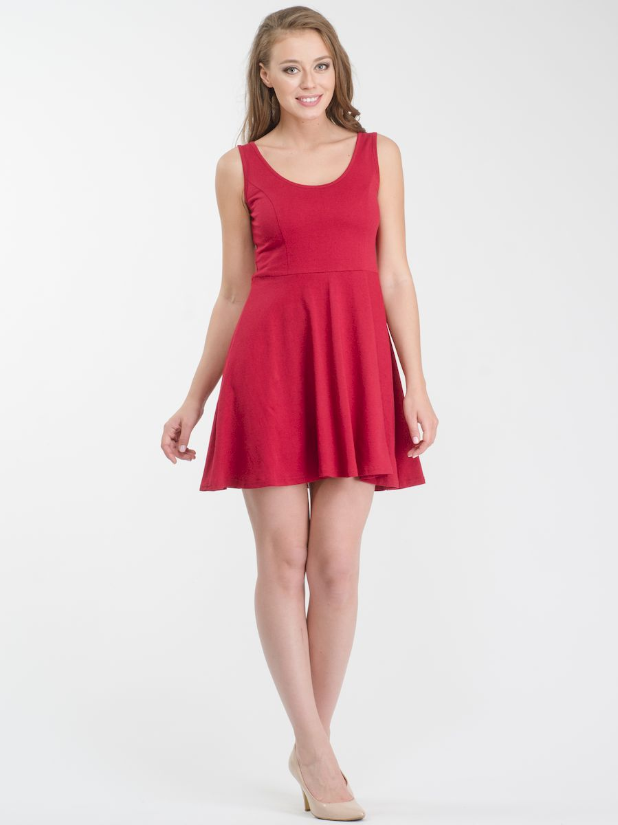 Платье Rocawear, цвет: бордовый. R021636. Размер XS (42)R021636Стильное платье мини-длины выполнено из натурального хлопка. Модель А-силуэта с круглым вырезом горловины и без рукавов.