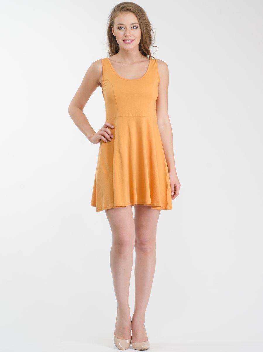 Платье Rocawear, цвет: желтый. R021636. Размер L (48)R021636Стильное платье мини-длины выполнено из натурального хлопка. Модель А-силуэта с круглым вырезом горловины и без рукавов.