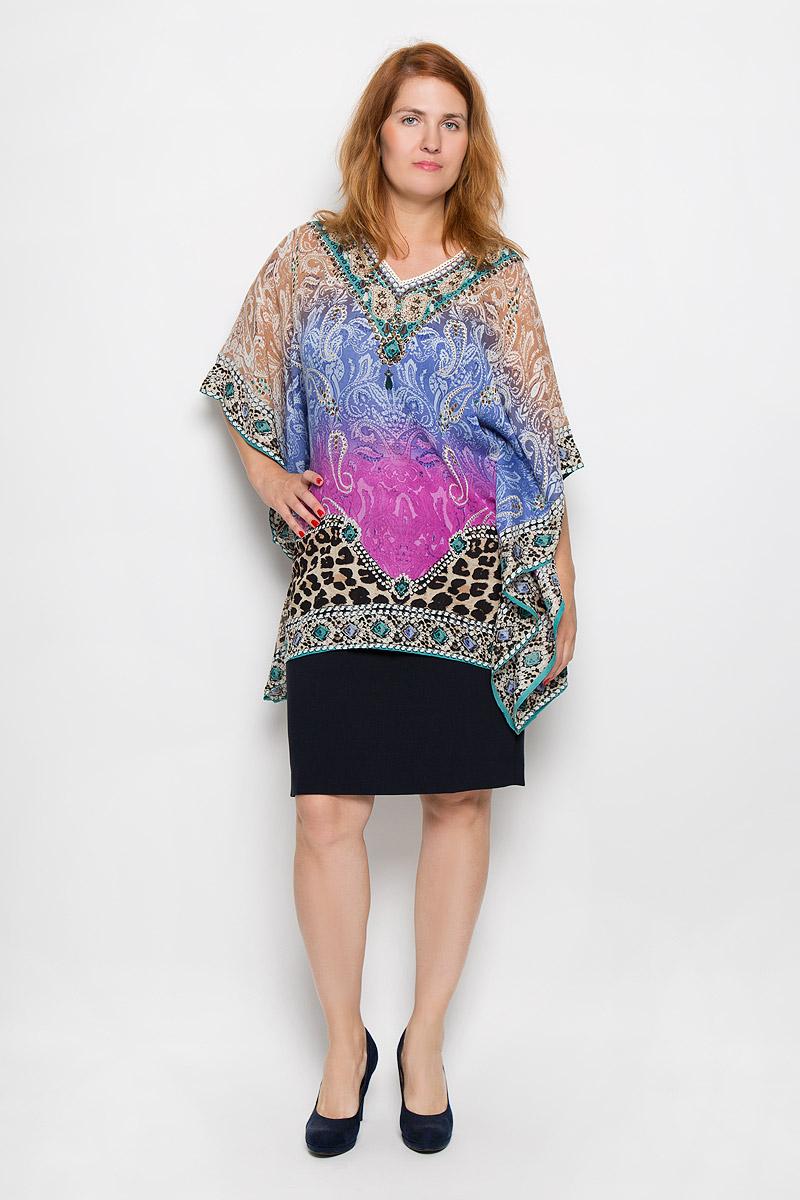 Блузка женская Finn Flare, цвет: лиловый, синий, бежевый. S16-14085_814. Размер XL/XXL (50/52)S16-14085_814Стильная женская блуза Finn Flare, выполненная из 100% вискозы, подчеркнет ваш уникальный стиль и поможет создать оригинальный женственный образ.Блузка свободного кроя с рукавами летучая мышь длиной 3/4 и V-образным вырезом горловины оформлена ярким принтом и украшена пайетками. Легкая блуза идеально подойдет для жарких летних дней. Такая блузка будет дарить вам комфорт в течение всего дня и послужит замечательным дополнением к вашему гардеробу.