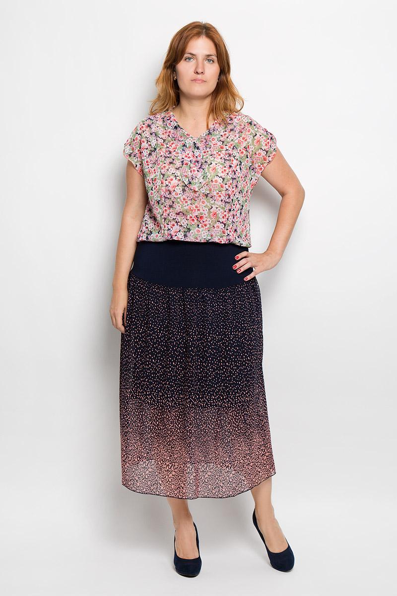 Юбка Milana Style, цвет: темно-синий, розовый. 913м. Размер M (46)913мЭффектная юбка Milana Style выполнена из эластичного полиэстера с добавлением вискозы, она обеспечит вам комфорт и удобство при носке.Юбка-макси с подъюбником дополнена широкой эластичной резинкой на талии. Модель украшена принтом в мелкий горох. Модная юбка-макси выгодно освежит и разнообразит ваш гардероб. Создайте женственный образ и подчеркните свою яркую индивидуальность! Классический фасон и оригинальное оформление этой юбки сделают ваш образ непревзойденным.