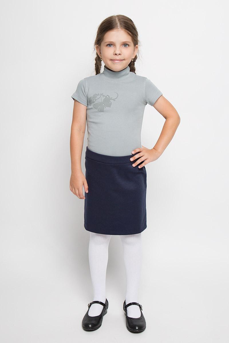 Водолазка для девочки M&D, цвет: серый. AW5560B-20. Размер 146AW5560A-20/AW5560B-20Водолазка для девочки M&D идеально подойдет вашей дочурке. Изготовленная из натурального хлопка, она необычайно мягкая и приятная на ощупь, не раздражает нежную кожу ребенка и хорошо вентилируется, а эластичные плоские швы приятны телу ребенка и не препятствуют его движениям. Водолазка с короткими рукавами и воротником-стойкой оформлена изображением оригинальной бабочки, декорированной стразами.Современный дизайн и расцветка делают эту водолазку модным и стильным предметом детского гардероба. В ней вашей маленькой моднице будет комфортно и уютно.