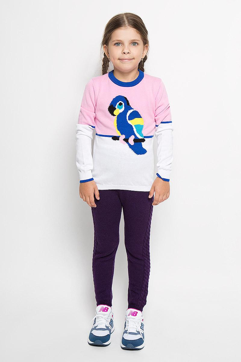 Джемпер для девочки Nota Bene, цвет: розовый, белый, синий. WK5403-5. Размер 98, 3 годаWK5403-5Яркий вязаный джемпер для девочки Nota Bene идеально подойдет вашей маленькой моднице. Изготовленный из мягкой пряжи, он необычайно мягкий и приятный на ощупь, не сковывает движения ребенка, обеспечивая ему наибольший комфорт. Джемпер с длинными рукавами и круглым воротником оформлен изображением попугая. Воротник, низ рукавов и низ изделия связаны мелкой резинкой, что предотвращает деформацию при носке. Современный дизайн и расцветка делают этот джемпер незаменимым предметом детского гардероба. В нем вашей маленькой принцессе будет уютно и тепло, и она всегда будет в центре внимания!