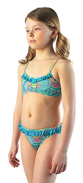 Купальник для девочки Lowry, цвет: зеленый, мультиколор. GSB-16. Размер S (28)GSB-16Модный пляжный купальник Lowry, изготовленный из качественного полиамида с добавлением эластана, приведет в восторг маленьких модниц. Декорирован яркими объемными рюшами и принтом с узорами.