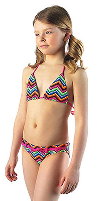 Купальник для девочки Lowry, цвет: мультиколор. GSB-18. Размер L (32)GSB-18Модный пляжный купальник Lowry, изготовленный из качественного полиамида с добавлением эластана, приведет в восторг маленьких модниц. Лиф купальника завязывается сзади по спинке на веревочки. Декорирован стильным принтом с узорами, а трусики дополнены небольшим декоративным пояском.