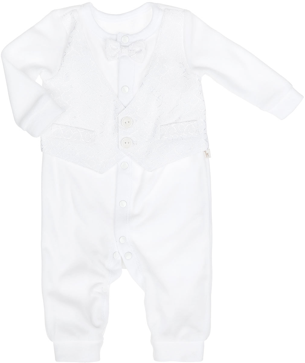 Комбинезон для мальчика БЕМБІ, цвет: белый. KB93-1. Размер 56, 1 месяц бембі полукомбинезон