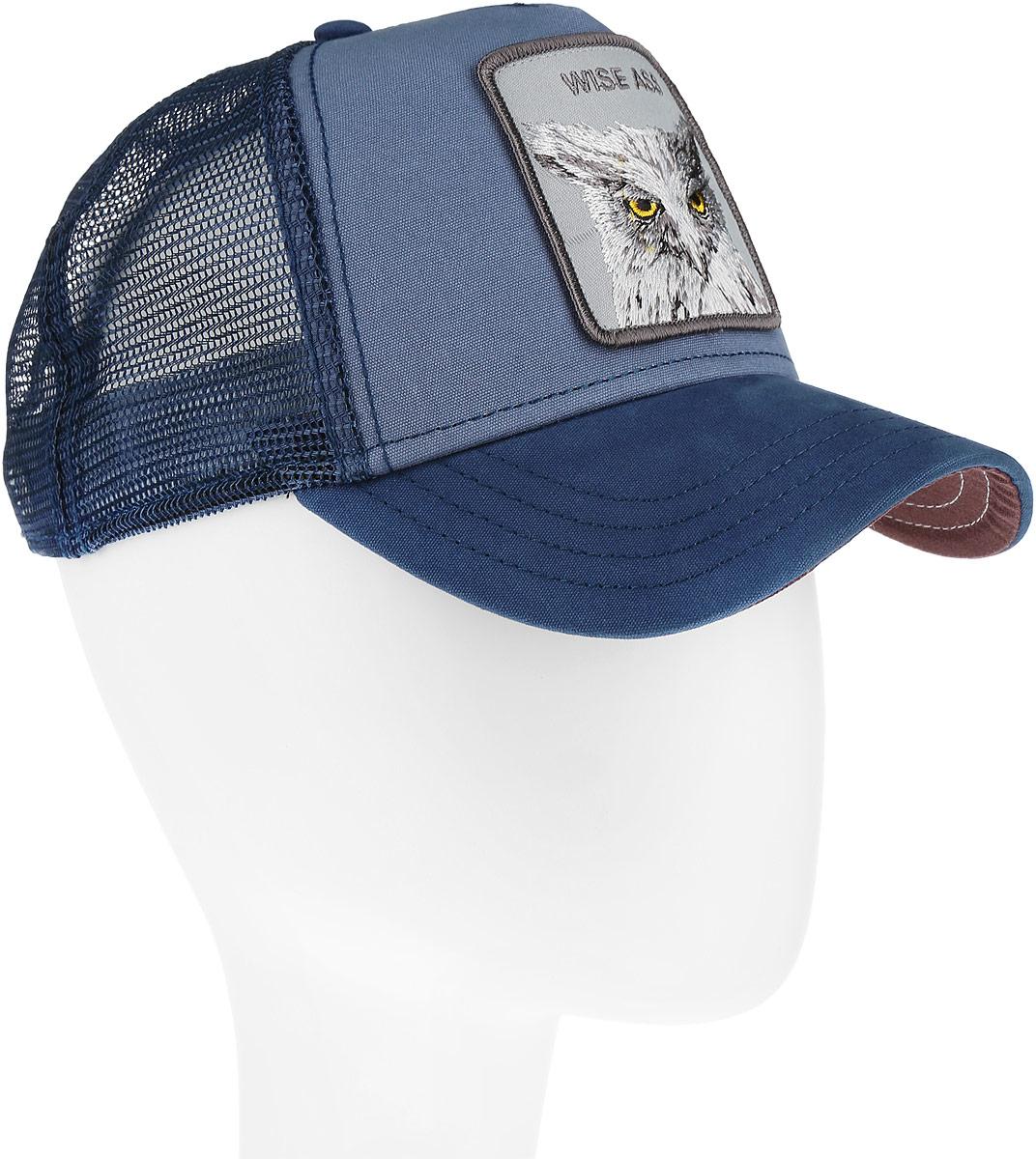 Бейсболка Goorin Brothers, цвет: синий, темно-синий. 90-945-19-00. Размер универсальный90-945-19-00Стильная бейсболка Goorin Brothers, выполненная из высококачественных материалов, идеально подойдет для прогулок, занятия спортом и отдыха. Она надежно защитит вас от солнца и ветра. Классическая кепка с сетчатой задней частью станет правильным выбором. Изделие оформлено нашивкой с изображением совы и надписью Wise Ass. Объем бейсболки регулируется пластиковым фиксатором.Ничто не говорит о настоящем любителе путешествий больше, чем любимая кепка. Эта модель станет отличным аксессуаром и дополнит ваш повседневный образ.
