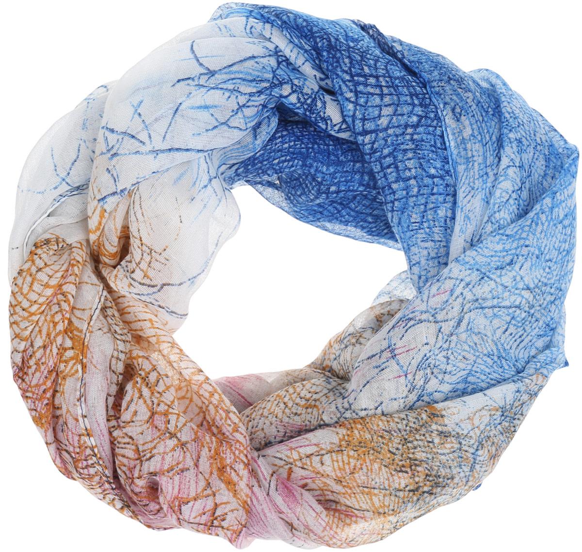 Палантин женский Labbra, цвет: синий, бежевый. LDB31-615. Размер 100 см х 180 смLDB31-615Элегантный палантин Labbra станет достойным завершением вашего образа.Палантин изготовлен из вискозы. Модель оформлена оригинальным принтом. Палантин красиво драпируется, он превосходно дополнит любой наряд и подчеркнет ваш изысканный вкус.Легкий и изящный палантин привнесет в ваш образ утонченность и шарм.
