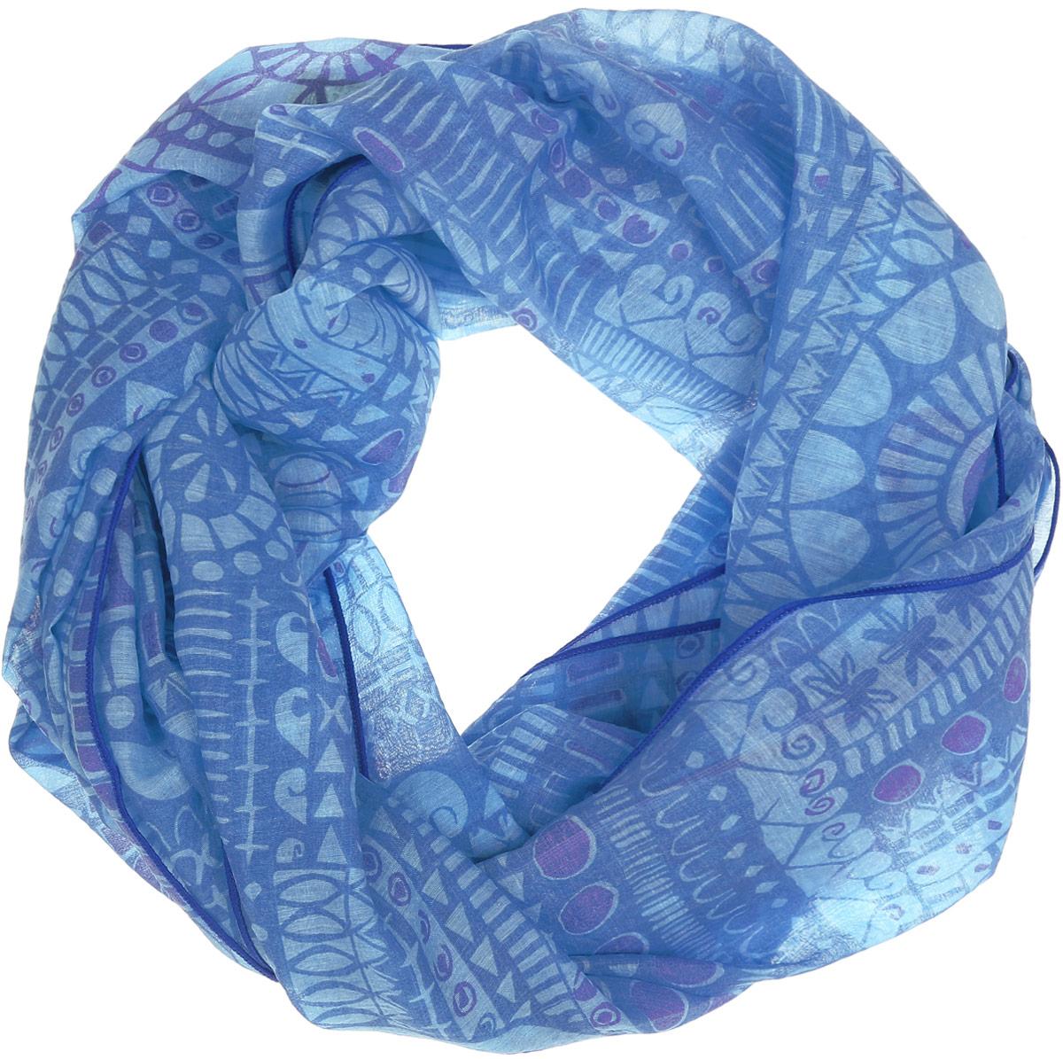 Палантин женский Labbra, цвет: синий, голубой. LBL22-273. Размер 55 см х 180 смLBL22-273Элегантный палантин Labbra станет достойным завершением вашего образа.Палантин изготовлен из хлопка и шелка. Модель оформлена оригинальным геометрическим орнаментом. Палантин красиво драпируется, он превосходно дополнит любой наряд и подчеркнет ваш изысканный вкус.Легкий и изящный палантин привнесет в ваш образ утонченность и шарм.
