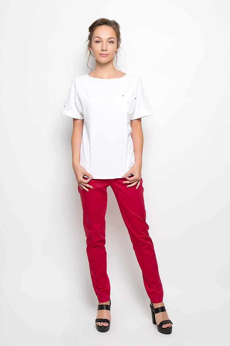 Брюки женские Yarmina, цвет: красный. 6710461. Размер 446710461Стильные женские брюки Yarmina, выполненные из хлопка с добавлением эластана, отлично подойдут на каждый день. Брюки слегка зауженного к низу кроя и стандартной посадки застегиваются на ширинку на застежке-молнии, а также крючок и пуговицу на поясе, и имеют шлевки для ремня. Спереди модель оформлена имитацией втачных карманов.Эти модные и в то же время комфортные брюки послужат отличным дополнением к вашему гардеробу. В них вы всегда будете чувствовать себя уютно и уверенно.