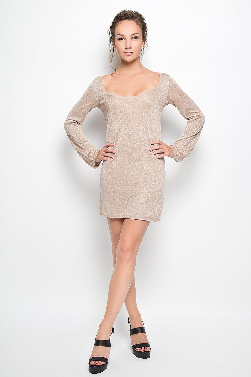 Платье Glamorous, цвет: бежевый. AN1904 STONE LUREX. Размер M (46)AN1904 STONE LUREXРомантичное платье Glamorous, выполненное из высококачественной вискозы с люрексом, преподносит все достоинства женской фигуры в наиболее выгодном свете. Модель свободного кроя с глубоким круглым вырезом горловины и длинными рукавами. Это стильное платье станет отличным дополнением к вашему гардеробу!