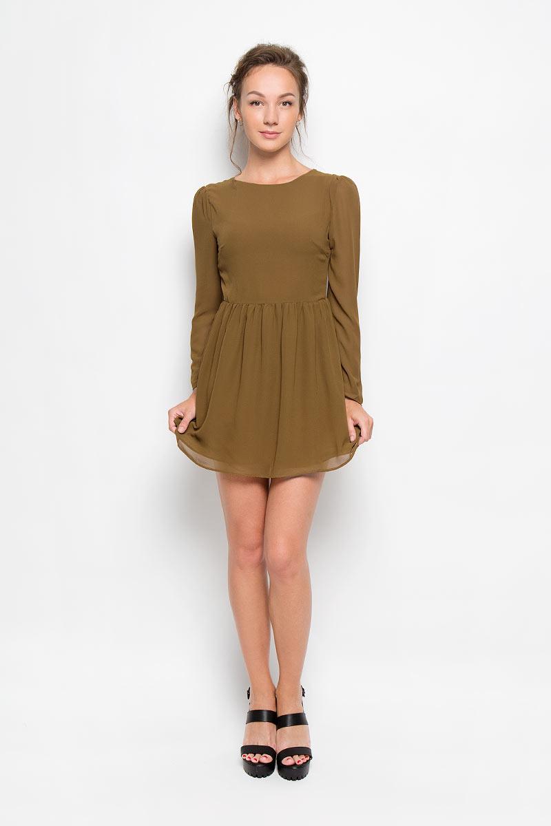 Платье Glamorous, цвет: оливковый. CK2061 OLIVE. Размер M (46)CK2061 OLIVEЭлегантное и невероятно легкое платье Glamorous, выполненное из полупрозрачного материала, преподносит все достоинства женской фигуры в наиболее выгодном свете. Модель с круглым вырезом горловины и длинными рукавами на спинке застегивается на скрытую застежку-молнию и дополнительно на пуговицу. Втачные рукава чуть присборены в верхней части канта. Благодаря свойствам используемого материала изделие практически не сминается. Это стильное платье станет отличным дополнением к вашему гардеробу!