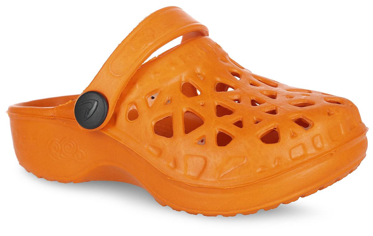 Сабо для девочки Bris, цвет: оранжевый. 022-14. Размер 29 (28)022-14Прелестные сабо от Bris придутся по душе вашей девочке. Модель полностью изготовлена из материала ЭВА, благодаря которому обувь невероятно легкая и удобная, она легко моется и быстро сохнет. Верх модели оформлен перфорацией, которая обеспечивает естественную вентиляцию. Пяточный ремешок предназначен для фиксации стопы при ходьбе. Рифление на подошве гарантирует идеальное сцепление с любой поверхностью. Такие сабо - отличное решение для каждодневного использования в жаркую погоду.