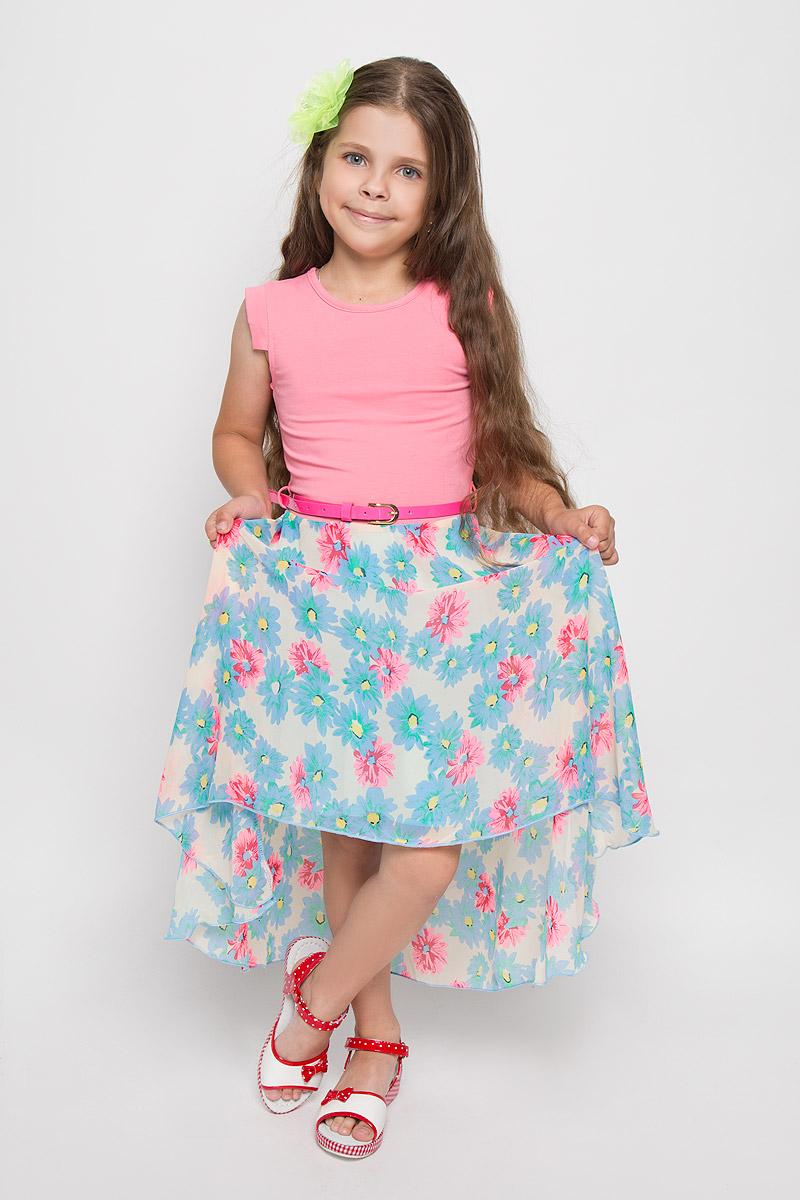 Платье для девочки Nota Bene, цвет: голубой, розовый. SS162G281-10. Размер 146SS162G281-10Платье для девочки Nota Bene поможет создать яркий и красивый образ. Верх платья изготовлен из мягкой эластичной ткани, юбка - из легкой полупрозрачной. На модели предусмотрена подкладка в нижней части. Платье тактильно приятное, не стесняет движений, хорошо пропускает воздух.Модель с круглым вырезом горловины и короткими рукавами-крылышками застегивается сзади на пуговицу. Линию талии подчеркивает ремешок на шлевках. Спинка модели удлинена. Платье оформлено цветочным принтом. Обладательница такого платья всегда будет в центре внимания! В комплект входит аксессуар в виде яркого декоративного цветка, который можно использовать в качестве заколки или броши.