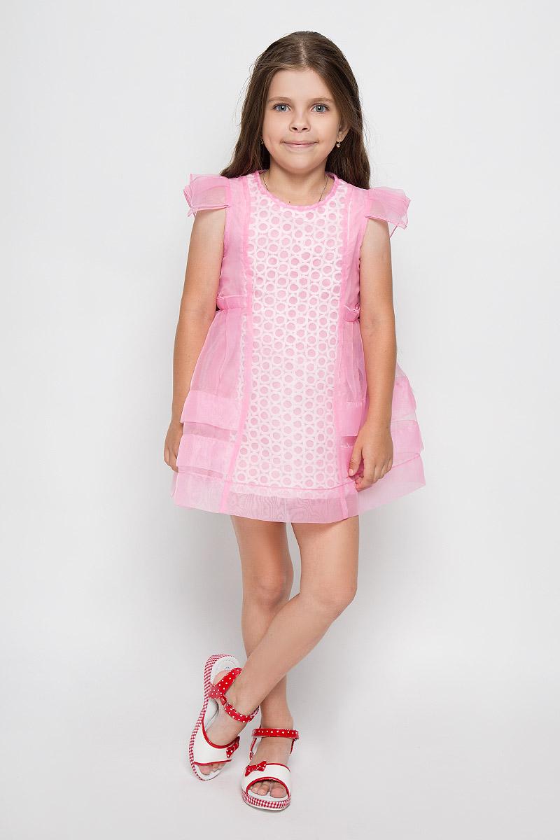 Платье для девочки Nota Bene, цвет: розовый. SSP1534-5. Размер 122SSP1534-5Оригинальное платье для девочки Nota Bene идеально подойдет вашей маленькой моднице. Верх платья выполнен из прозрачной ткани. На модели предусмотрена подкладка, изготовленная из натурального хлопка. Платье легкое и воздушное, не стесняет движений и хорошо вентилируется. Платье с круглым вырезом горловины и короткими рукавами-крылышками застегивается по спинке на скрытую молнию, что помогает при переодевании ребенка. Спереди модель украшена вставкой с фактурной поверхностью.Обладательница такого красивого платья всегда будет в центре внимания!