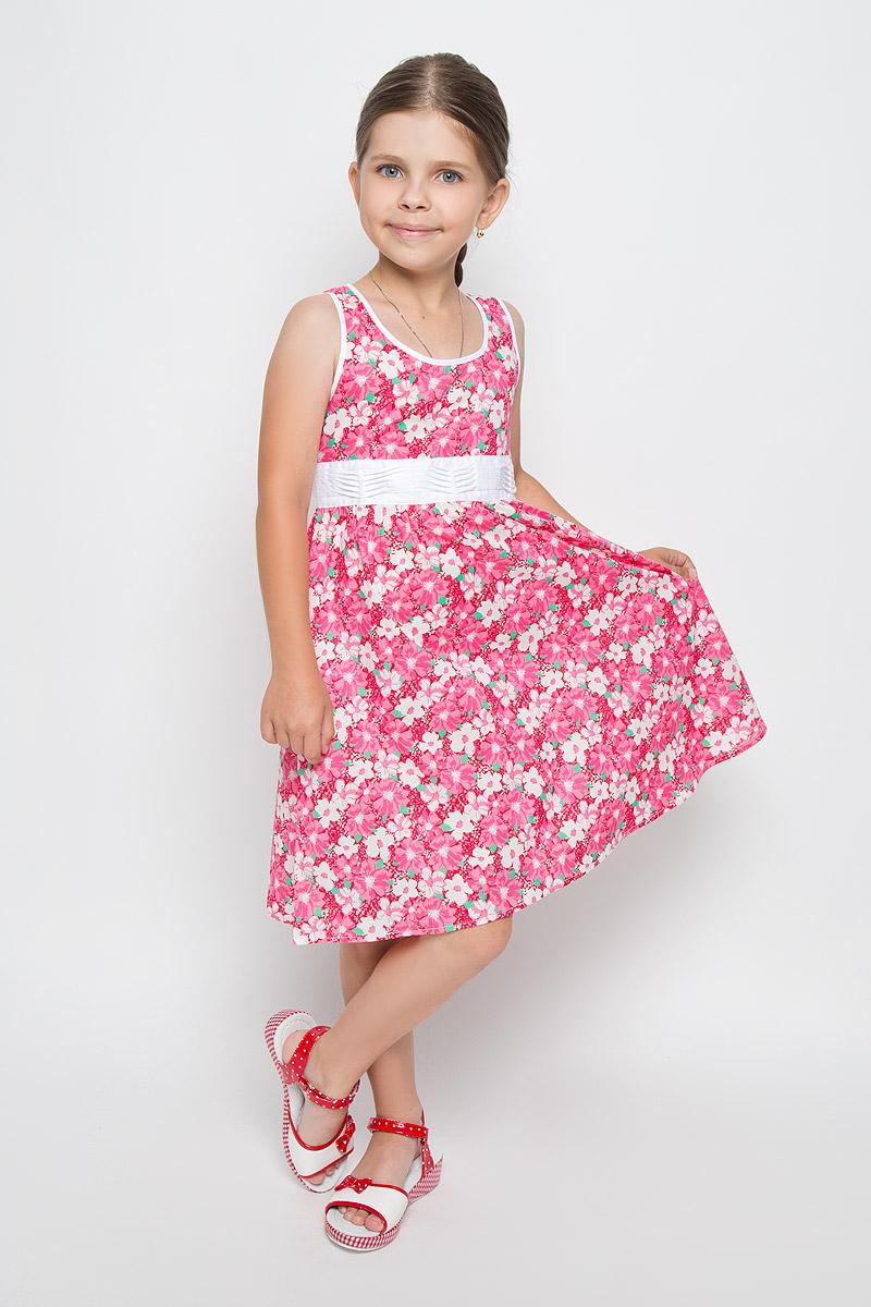 Платье для девочки Finn Flare Kids, цвет: розовый. KS16-71009B. Размер 122, 6-7 летKS16-71009BЛегкое и красивое платье для девочки Finn Flare Kids станет отличным дополнением к гардеробу маленькой модницы. Изготовленное из натурального хлопка, оно мягкое и приятное на ощупь, не сковывает движения и хорошо пропускает воздух. Платье с круглым вырезом горловины застегивается по спинке на пуговицы. Вшитый пояс контрастного цвета завязывается сзади на бант. От линии талии заложены складочки, придающие изделию пышность. Модель оформлена цветочным принтом, украшена маленькой металлической пластиной с названием бренда. В таком платье маленькая принцесса всегда будет в центре внимания!