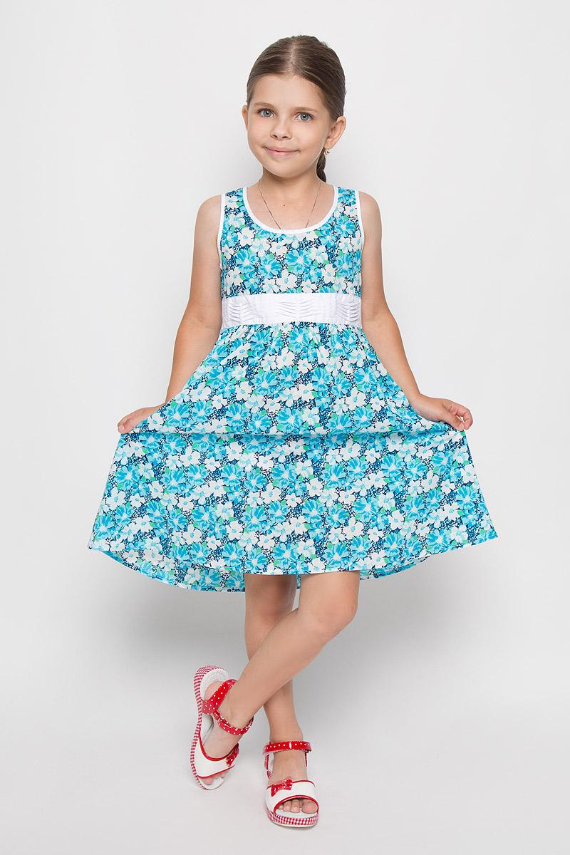 Платье для девочки Finn Flare Kids, цвет: голубой. KS16-71009B. Размер 110, 4-5 летKS16-71009BЛегкое и красивое платье для девочки Finn Flare Kids станет отличным дополнением к гардеробу маленькой модницы. Изготовленное из натурального хлопка, оно мягкое и приятное на ощупь, не сковывает движения и хорошо пропускает воздух. Платье с круглым вырезом горловины застегивается по спинке на пуговицы. Вшитый пояс контрастного цвета завязывается сзади на бант. От линии талии заложены складочки, придающие изделию пышность. Модель оформлена цветочным принтом, украшена маленькой металлической пластиной с названием бренда. В таком платье маленькая принцесса всегда будет в центре внимания!