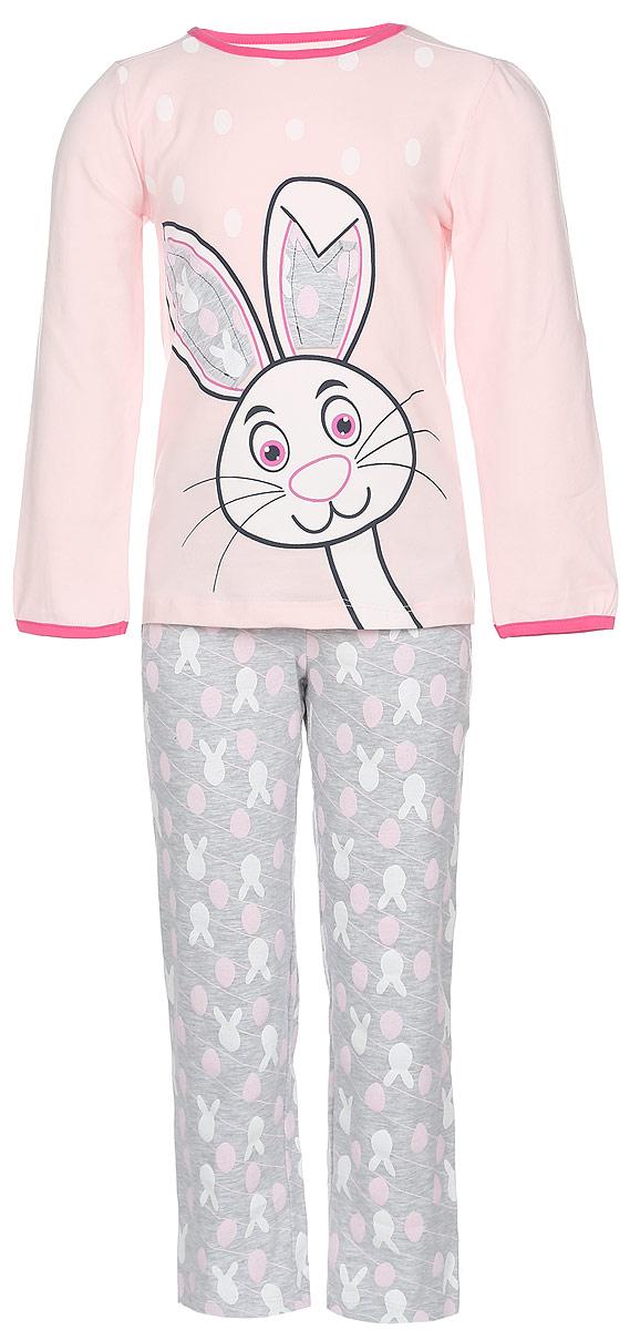 Пижама для девочки Baykar, цвет: розовый, серый меланж. N9011124A-22. Размер 104/110N9011124A-22/N9011124B-22Пижама для девочки Baykar, выполненная из эластичного хлопка, идеально подойдет маленькой принцессе для сна и отдыха. Материал изделия мягкий, тактильно приятный, не сковывает движения, хорошо пропускает воздух. Пижама состоит из футболки с длинным рукавом и брюк. Футболка с длинными рукавами и круглым вырезом горловины украшена изображением забавного зайчика, ушки которого оформлены принтованными вставками. Вырез горловины и края рукавов дополнены эластичными бейками контрастного цвета. Брюки прямого кроя имеют на талии мягкую широкую резинку, благодаря чему они не сдавливают животик ребенка и не сползают. Спереди расположены два втачных кармана. Изделие оформлено оригинальным принтом и декорировано атласным бантиком. Высокое качество исполнения и дизайн принесут удовольствие от покупки и подарят отличное настроение!