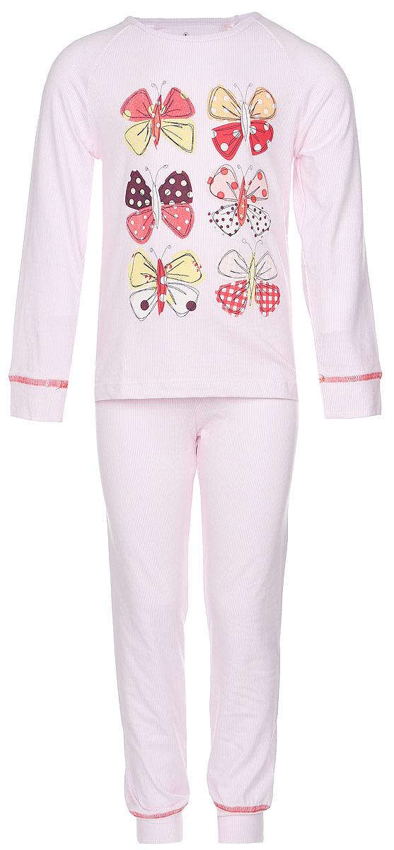 Пижама для девочки Baykar, цвет: светло-розовый, белый. N9047273-22. Размер 104/110N9047273-22Мягкая пижама для девочки Baykar, состоящая из футболки с длинным рукавом и брюк, идеально подойдет ребенку для отдыха и сна. Модель выполнена из хлопка с добавлением эластана, очень приятная к телу, не сковывает движения, хорошо пропускает воздух. Футболка с круглым вырезом горловины и длинными рукавами-реглан оформлена принтом в тонкую полоску и термоаппликациями в виде бабочек. Низ рукавов дополнен широкими манжетами.Брюки на талии имеют мягкую резинку, благодаря чему они не сдавливают животик ребенка и не сползают. Низ брючин дополнен широкими манжетами. Изделие оформлено принтом в полоску.В такой пижаме ребенок будет чувствовать себя комфортно и уютно!