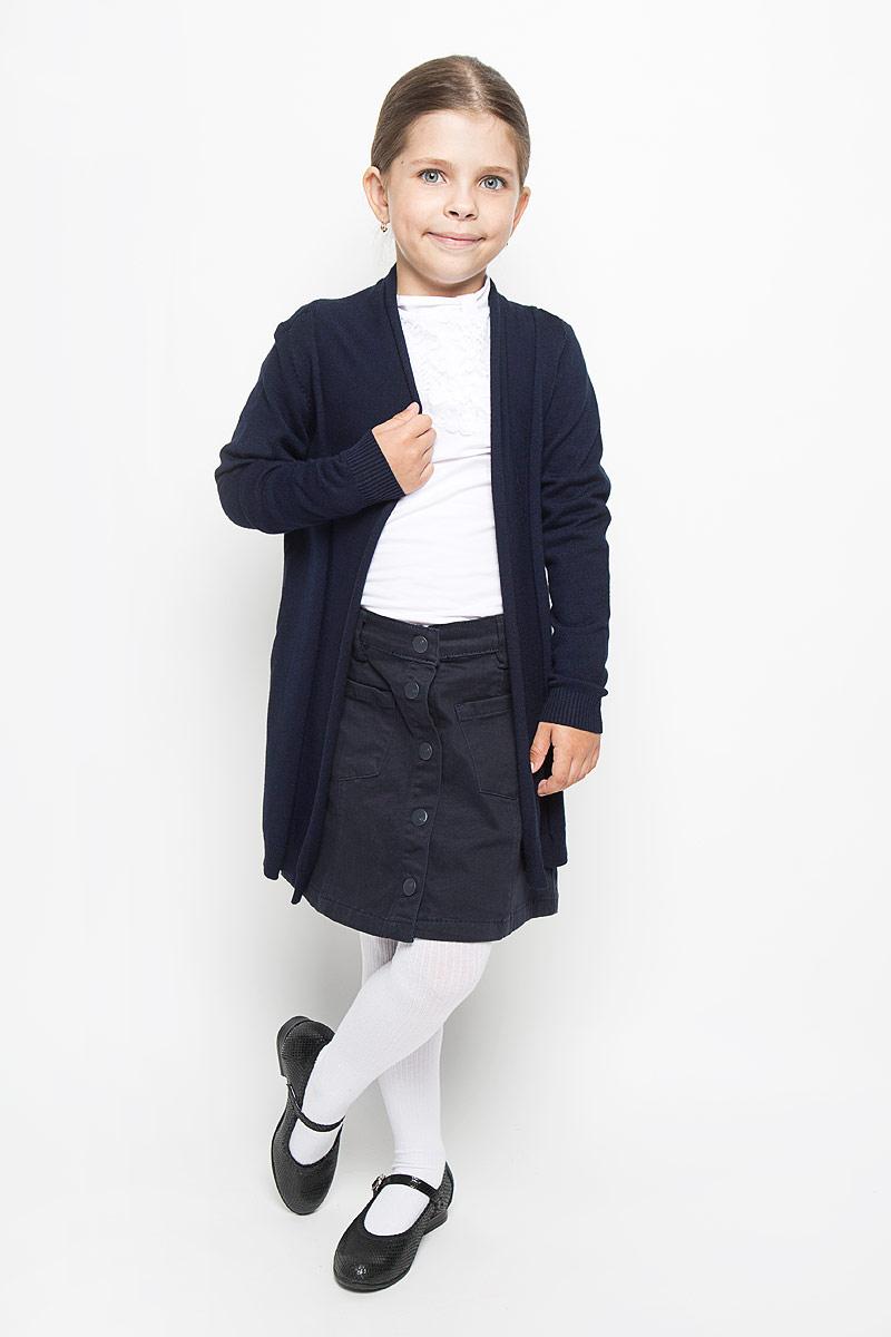 Кардиган для девочки Orby School, цвет: темно-синий. 64175_OLG, вар.1. Размер 146/152, 10-11 лет64175_OLG, вар.1Стильный кардиган для девочки Orby School идеально подойдет для школы и повседневной носки. Изготовленный из вискозы с добавлением нейлона, он мягкий и приятный на ощупь, не сковывает движения и позволяет коже дышать, не раздражает даже самую нежную и чувствительную кожу ребенка, обеспечивая ему наибольший комфорт. Модель с длинными рукавами и воротником-шалькой. Манжеты и низ изделия связаны резинкой. В боковых швах обработаны небольшие разрезы.Такой кардиган - хорошая альтернатива пиджаку в прохладное время года. Являясь важным атрибутом школьной моды, он обеспечивает тепло и комфорт.