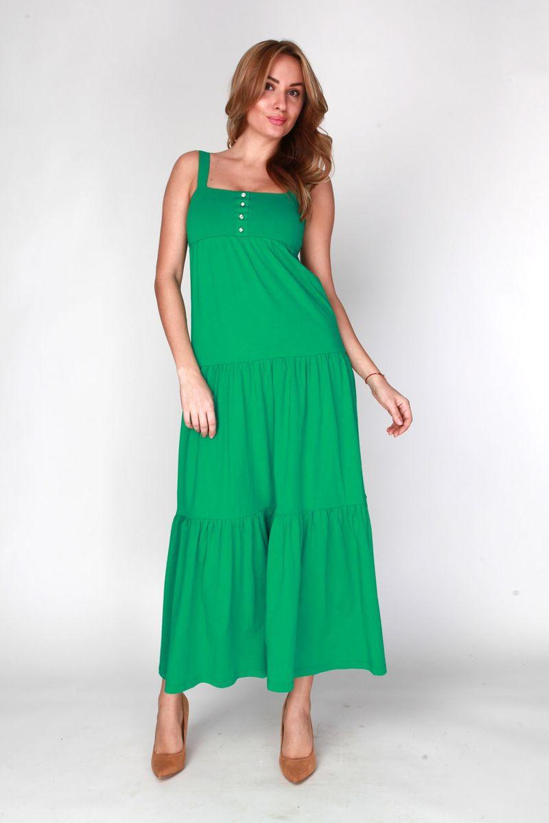 Платье Vis-A-Vis, цвет: темно-зеленый. DR6080. Размер L (48)DR6080Длинное платье-сарафан выполнено из хлопка и полиэстера. Лиф платья двойной с ложной застежкой.