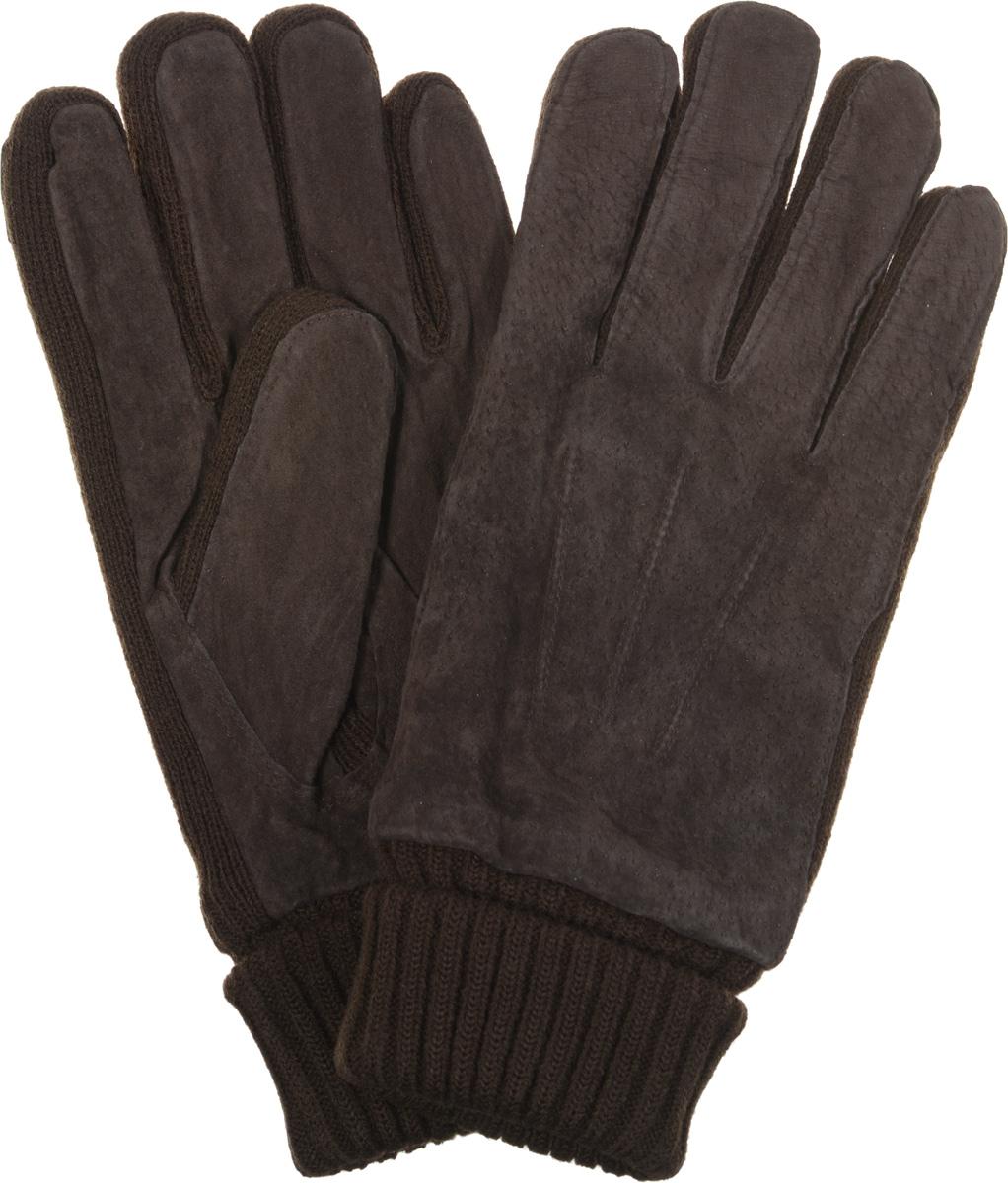Перчатки мужские Modo Gru, цвет: коричневый. MKH 04.62. Размер S (6,5)MKH 04.62Потрясающие мужские перчатки торговой марки Modo выполнены из чрезвычайно мягкой и приятной на ощупь кожи - велюра в сочетании с трикотажем, а их подкладка - из мягкого флиса. Утеплены современным утеплителем Thinsulate. Лицевая сторона оформлена декоративными швами три луча, а на ладонной стороне модель дополнена стягивающей резинкой. Великолепные мужские перчатки Modo не только согреют руки, но и дополнят ваш образ в качестве эффектного аксессуара.